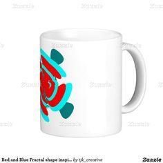 Red and Blue Fractal shape inspired design Coffee Mug