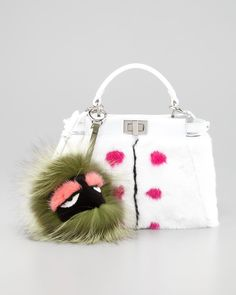 Fendi Peekaboo Small Dotted Fur Tote Bag, White - Neiman Marcus