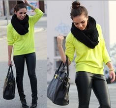 Neon sweater with skinny jeans or tights
