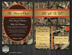 Welcome to Atomica Press!    Camo Wedding Invitation / RSVP Postcard    Invitation : 5 X 7 RSVP Postcard : 4 x 6 (2 Sided)  If you are interested in