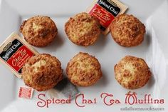 Bigelow Spiced Chai Tea Muffins with Cinnamon Streusel Topping. Tea-licious!