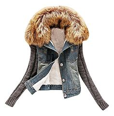 US&R Women Rib Knit Full Sleeve Fleece Lining & Fur Collar Denim Jacket, 0 M ,Manufacturer(XL)