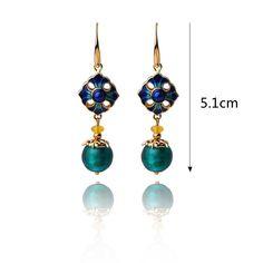 Luxury Retro Dangle Earrings Cloisonne Flower Agate Handmade Gold Earrings for Women Ethnic Jewelry Agate, Gold Earrings For Women, Ear Drops, Fashion Jewelry, Women Jewelry, Ethnic Jewelry, Belize, Uganda, Women's Earrings
