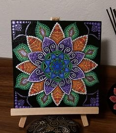 This original painting was done on a 7 x 7 canvas board with acrylic paints and sealers. Most of my art pieces begin with a single color on black and develops as I paint, so each piece is unique and one of a kind. I have signed the back. It has been sealed with a gloss sealer and is