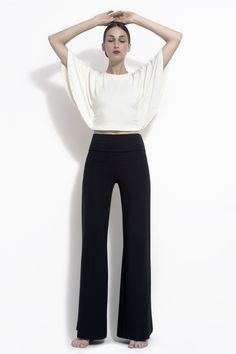 Katia Wide Leg Stretch Bamboo Jersey Trouser - Comfortable wide leg stretch trouser made with bamboo spandex jersey. Trousers have a 2.5″ hem for extra length flexibility and a sturdier fall. by DEVINTO