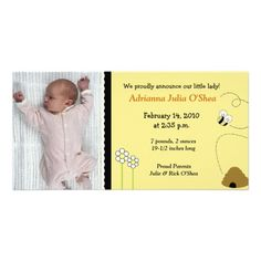 8x4 Bee Happy Bumble Bee Birth Announcement Photo Photo Card Template
