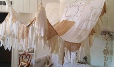 Bed Canopy..created with vintage linens  MADE TO Order 2-3 weeks  Rustic/Shabby Chic Bed Canopy One of a Kind Beauty for your Bedroom, Wedding, Garden Party ,Window, Patio, Hippie Meditation Room  This is a wonderful canopy sewn with vintage antique textiles, burlap, vintage cut out