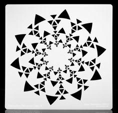 "Opposing Triangles Sunburst.  Multi-purpose / Multi-Use Airbrush Stencil.  10  1/2"" x 10  1/2""."