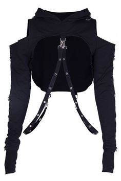 Punk Sexy Cold Shoulder Hollow Out Straps Embellished Long Sleeve Cropped Hoodie Punk Sexy Cold Shoulder Hollow Out Straps Embellished Long Sleeve Cropped Hoodie Punk Outfits, Gothic Outfits, Stage Outfits, Grunge Outfits, Dance Outfits, Casual Outfits, Tomboy Outfits, Egirl Fashion, Gothic Fashion
