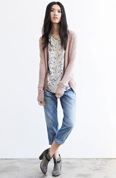 Equipment Cashmere Cardigan, Silk Tee & Current/Elliott Jeans  available at #Nordstrom  cute&casual
