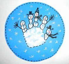 Bonshommes de neige en empreinte de main - suite