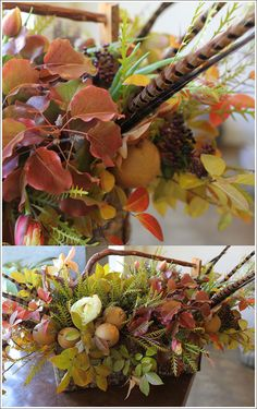 Thanksgiving bouquet - leaves of crepe myrtle, bradford pear and grevellia, asian pears, tree peonies, tulips and pheasant feathers.