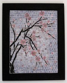 My entry to the Asian Influence Exhibition. Stained glass and millefiori Mosaic Crafts, Mosaic Projects, Craft Projects, Cherry Blossom Tree, Blossom Trees, Stained Glass Patterns, Mosaic Patterns, Mosaic Glass, Mosaic Tiles