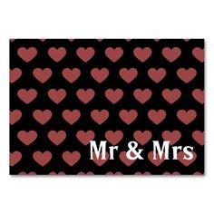 Dark Pink Polka Dot Hearts (Black Background) Table Cards