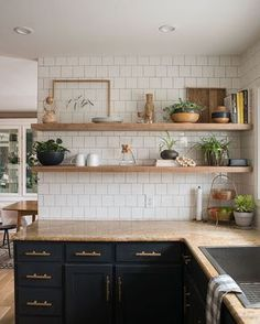"""LOVE this look, except I would do the butcher block counter top (@restorationhouse) on Instagram: """"@biggerthanthethreeofus proves you don't need a million bucks and marble countertops to acheive a…"""""""