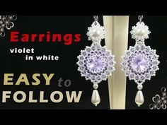 How to make beaded earrings using 14 mm rivoli. Beading tutorial - YouTube