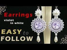 How to make beaded earrings using 14 mm rivoli. Beading tutorial - YouTube