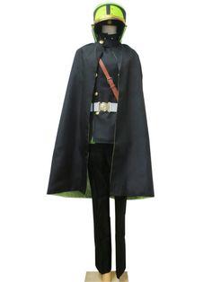 Seraph of the End Yoichi Saotome Army Uniform Cloak Full Set Cosplay Costume (Male XXS)