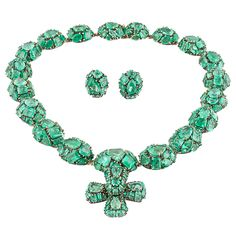 Marilyn Cooperman Jody Emerald Silver Gold Necklace with Earrings | From a unique collection of vintage drop necklaces at https://www.1stdibs.com/jewelry/necklaces/drop-necklaces/
