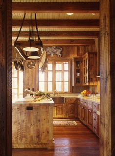 Sophisticated Reclaimed Wood Kitchen Cabinets as Great Furniture: Rustic View Of The Kitchen With Reclaimed Wood Kitchen Cabinets And Wooden. Rustic Kitchen Design, Eclectic Kitchen, Rustic Design, Country Kitchen, Rustic Decor, Ranch Kitchen, Country Living, Rustic Wood, Rustic Outdoor