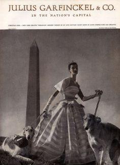 Christian Dior 1953 Toni Frissell Dog Sighthound Greyhound, Evening Gown