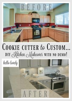 DIY kitchen renovation by Hello Lovely of a builder's special, cookie cutter kitchen (with cheap everthing) to a custom beauty with serene Nordic French style and quartz countertops. Budget Kitchen Remodel, Kitchen On A Budget, Home Renovation, Home Remodeling, Kitchen Remodeling, Kitchen Decor, Kitchen Design, Kitchen Ideas, Kitchen Themes