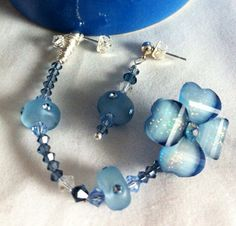 Blue Flower Swarovski double pierced set Boho  on Etsy, $18.00