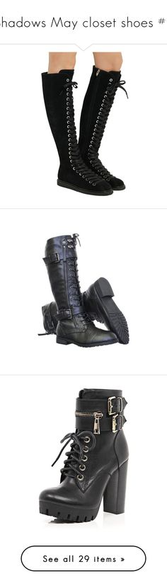 """""""Shadows May closet shoes #1"""" by bubble-loves-you ❤ liked on Polyvore featuring shoes, boots, ankle booties, black, goth boots, black booties, black suede booties, suede lace up booties, leather lace up boots and combat boots"""