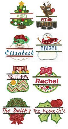 Embroidery | Split Applique Machine Embroidery Designs | Split Christmas Applique-Designs by JuJu
