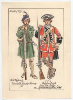British; Nova Scotia Ranging Company, Ranger, 1755 &  Colonel William Shirley's or the Cape Breton Regiment of Foot, Private of a Hat Company 1746-49