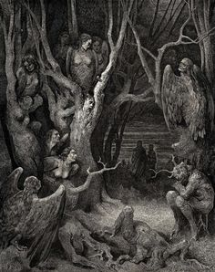 """My favorite canto in all the Divine Comedy - the wood of the suicides in VIII. When Dante must break a branch to hear the bramble tell their stories and the """"words and blood"""" flow together like ill favored sap. What an image."""