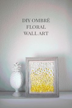 Create this ombre DIY floral wall art in any color combination using artificial flowers and a frame in any style and size! I chose bright yellow tiny spring flower blossoms in a rustic wood frame for a gallery wall or mantel!