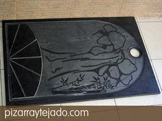 Diseño personalizado de plato de ducha en pizarra natural. #pizarra #pizarranatural #naturalslate #pizarras #ardoise #slate