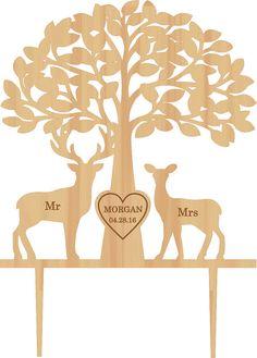 Deer Cake Topper Wedding Cake Topper Mr & Mrs by HolidayCakeTopper