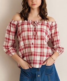 Loving this Berry Plaid Off-Shoulder Top on #zulily! #zulilyfinds