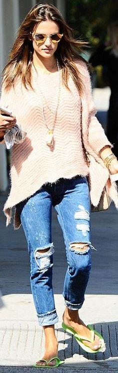 Alessandra Ambrosio: Sunglasses – Fendi  Sweater – Forever Unique  Shoes – Schutz Alpargata