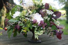 compote centerpiece, smoke bush, white peony, nandina, hypericum berry