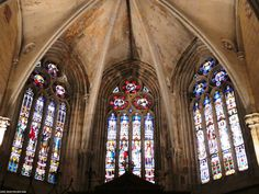 Tres vidrieras. Catedral de Palencia. Three  stained glass Windows Cathedral of Palencia Spain