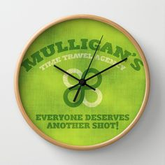 Mulligan's Time Travel Agency Wall Clock