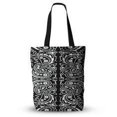 Black White Paisley Bandana Tote Bag