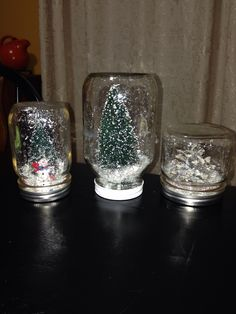 Mason jar snow globes ( no water)