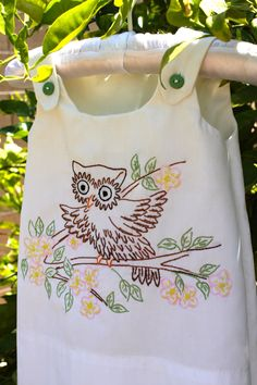 Vintage Embroidered Owl Pillowcase
