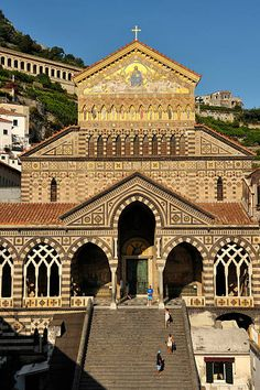 Italy, Campania, Amalfi Coast, listed as World Heritage by UNESCO, Amalfi, Sant' Andrea Cathedral on Piazza Duomo Religious Architecture, Ancient Architecture, Costa, Famous Buildings, Amalfi Coast, Historical Sites, Vacation Destinations, Barcelona Cathedral, Photo Sites