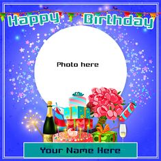 Are you searching for new and latest write name on birthday card photo frames? Happy birthday greeting card with name and photo generator. Get free happy birthday cards with name and photo edit. Birthday Wishes With Photo, Create Birthday Card, Birthday Wishes With Name, Happy Birthday Wishes Cake, Birthday Photo Frame, Happy Birthday Frame, Happy Birthday Cake Images, Cool Birthday Cards, Happy Birthday Flower
