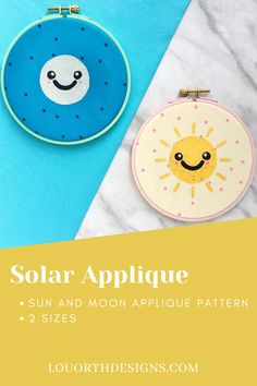 Modern and cute Sun and Moon raw edge applique pattern. Pattern comes in 2 different sizes, perfect for hoop art and home decoration. Pattern by Lou Orth Designs #applique #modernapplique #sewing #homedec #crafty #scrappy#rawedgeapplique #hoopart Make Your Own, Make It Yourself, Cute Sun, Raw Edge Applique, Sewing Appliques, Machine Applique, Love Sewing, Pdf Patterns, Applique Designs