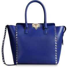 Valentino Double handle bag ($1,407) ❤ liked on Polyvore featuring bags, handbags, purses, bolsas, valentino, blue bag, blue studded purse, studded bag, valentino purses ve strap bag