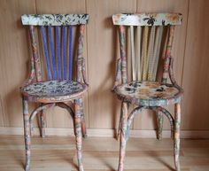 Decoupage Chair, Recycled Magazines, Chalk Paint, Diy Furniture, Dining Chairs, Recycling, Ideas, Painting, Home Decor