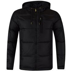 VERSACE JEANS Black Hooded Puffer Jacket