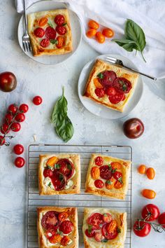 This easy tomato tart recipe is made with garden fresh herbs, summer tomatoes, soft cheese, and golden puff pastry. Make 1 large tart or several small ones! Tomato Tart Puff Pastry, Tomato Tart Recipe, Brie Puff Pastry, Cheese Pastry, Tomato Mozzarella, Tomato And Cheese, Goat Cheese, Tart Recipes, Side Dish Recipes