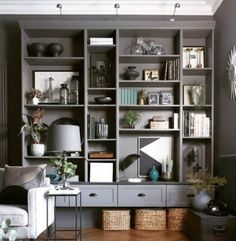 19 Ikea Billy Bookcase Hacks that are Bold and Beautiful - james and catrin Billy Ikea Hack, Ikea Billy Bookcase Hack, Built In Bookcase, Billy Bookcases, Bookshelves Tv, Ikea Furniture Hacks, Office Furniture, Steel Furniture, Upcycled Furniture